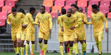 Sepana Victor Letsoalo of South Africa celebrates goal with teammates during the 2021 COSAFA Cup match between  South Africa and Lesotho at Nelson Mandela Bay Stadium, Port Elizabeth, on 13 July 2021 ©Samuel Shivambu/BackpagePix